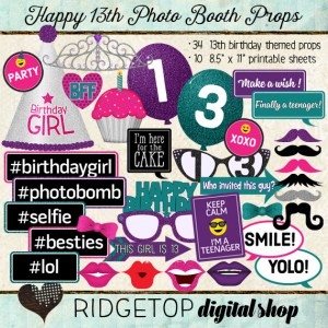 Ridgetop Digital Shop | Photo Booth Props |13th Birthday | Girl