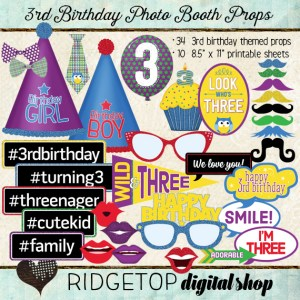 Ridgetop Digital Shop | Photo Booth Props | 3rd Birthday