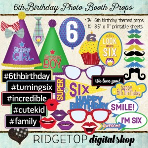 Ridgetop Digital Shop | Photo Booth Props | 6th Birthday