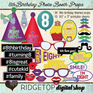 Ridgetop Digital Shop | Photo Booth Props | 8th Birthday