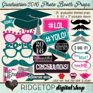 Ridgetop Digital Shop | Photo Booth Props | Class of 2016 | Graduation | Teal | Hot Pink