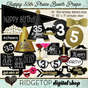 Ridgetop Digital Shop | Photo Booth Props | 35th Birthday