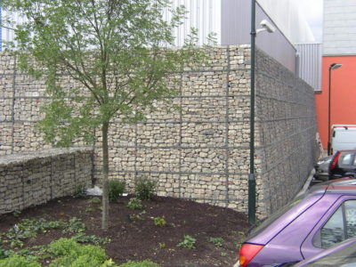 An external corner made from concertainer gabions.