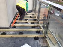 The adjustable Pedestal Bozon system allows for variations in the flooring depth, prior to the decking being fitted in place.