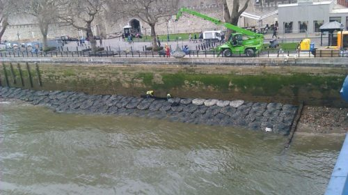 Kyowa Filter Units providing emergency protection for the wall adjacent to the Tower of London. Project completed by JT Mackleys