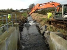 Filter unit installation from overflow at Camlough lake