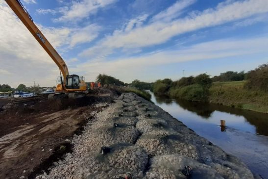 Ridgeway Filter Unit Rockbags repairs damaged river embankment