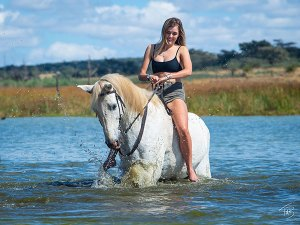 Swimming with a horse