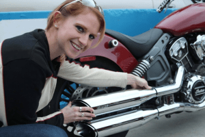 Leah installing exhaust pipes