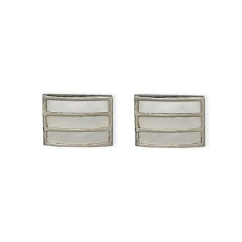 Weber Jewelry Silver Mother Of Pearl Cuff Links