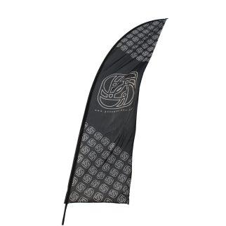 Bandiera Gusset 3m x 80cm, completa di base e asta alta 4,4m