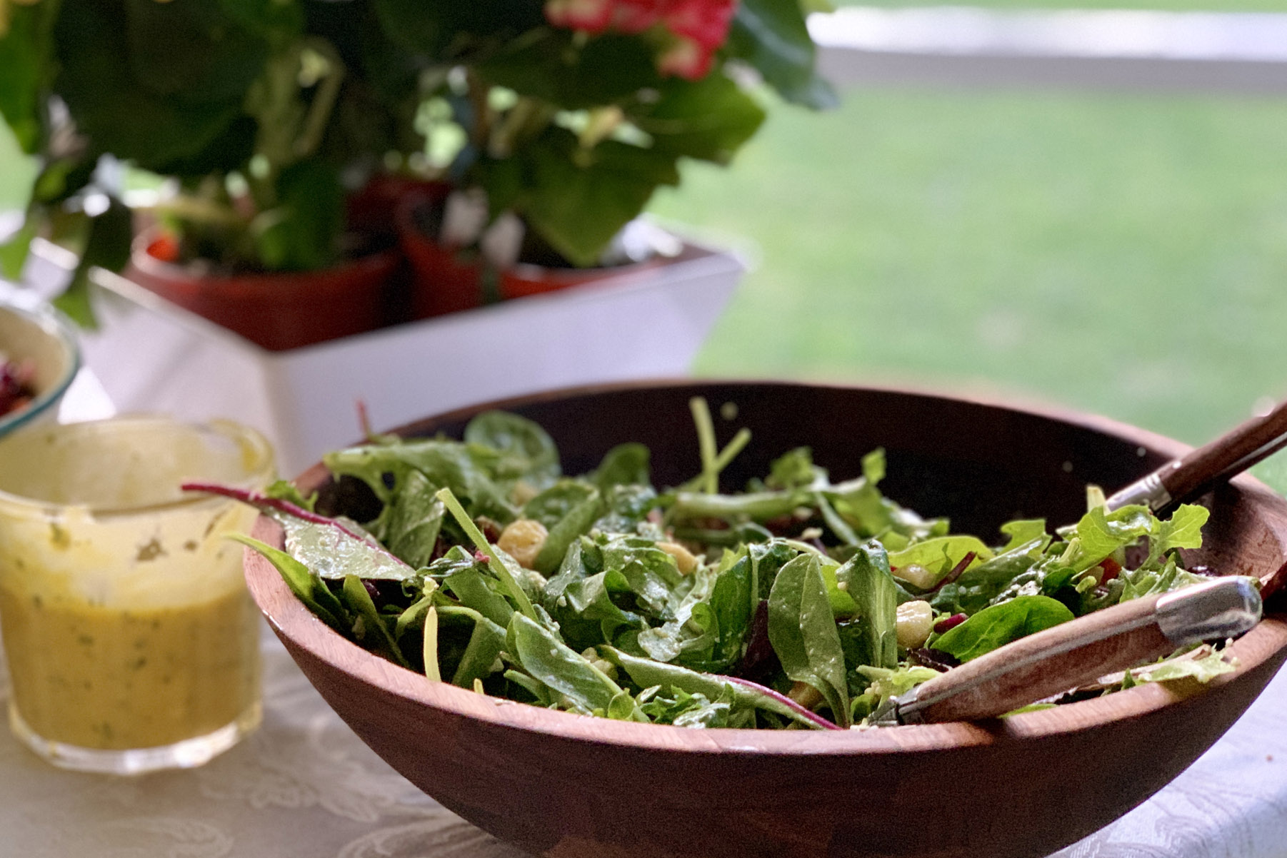 Tropical Green Salad with Mango Dressing