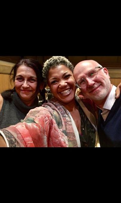 HoTN's Curator/Librettist SMS with Measha Brueggergosman, Soprano, and Jeff Ryan, composer, at the rehearsal for Afghanistan: Requiem for a Generation.