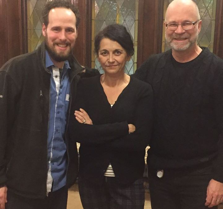 We were so busy with twelve actors and singers at our table read that we only had time for two photos! Simon Miron, Dramaturge, Dr. Suzanne Steele Librettist and Neil Weisensel, Composer in the first. Steele and Weisensel flanking Metis elder Jules Chartrand in the second.  @ Winnipeg, Manitoba