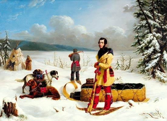 The Surveyor: Portrait of Captain John Henry Lefroy ca. 1845 by Paul Kane. Lefroy is wearing a Métis/voyageur outfit consisting of a capote, a sash, a fire bag, mittens on a string, leggings, garters and moccasins. His companion is also wearing a capote, a sash and a fire bag.