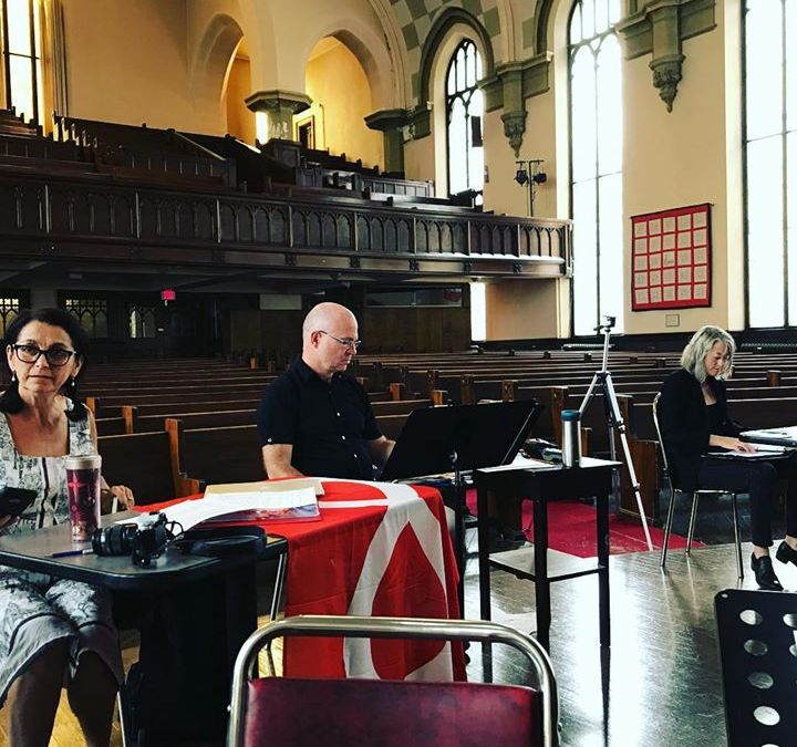 Hard at work last week in Winnipeg, workshopping Riel's Heart of the North. L to R: Librettist Dr. Suzanne Steele, Composer Neil Weisensel, Dramaturge Estelle Shook.