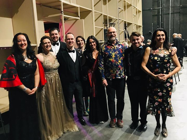 The incredible world premiere cast of Riel's Heart of the North with creative team Neil Weisensel and Suzanne Steele: from left, Marion Newman, Rebecca Cuddy, James Westman, James McLennan, Riva Farrell-Racette, Melody Courage, Weisensel, Jordan Daniels and Steele. Missing is Regina Symphony Orchestra Gordon Gerrard.