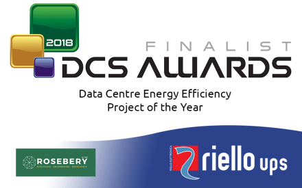 """DCS Awards 2018 logo with Riello UPS as a finalist in the """"Data Centre Energy Efficiency Project of the Year"""""""