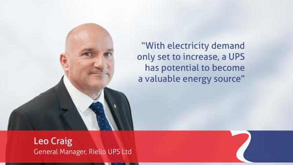 Riello UPS general manager Leo Craig quote, potential of UPS as an energy source