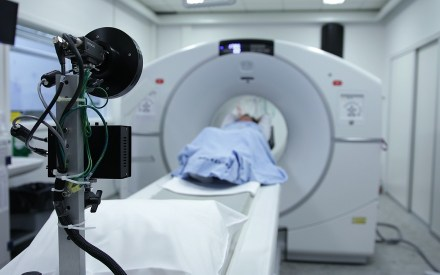 Patient entering a hospital MRI scanner