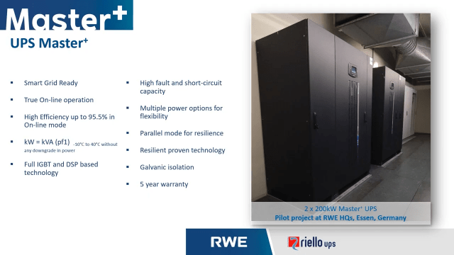 Master+ by Riello UPS & RWE – slide listing the key features of the Master+ smart grid-ready UPS and battery system