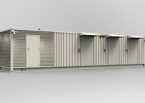 white containerised modular data centre on a plain white background
