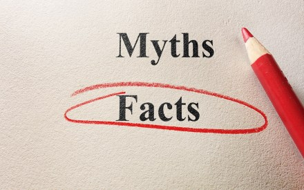Facts circled vs myths, and pencil on textured paper