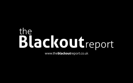 logo for the blackout report white text on black background plus the website URL www.theblackoutreport.co.uk