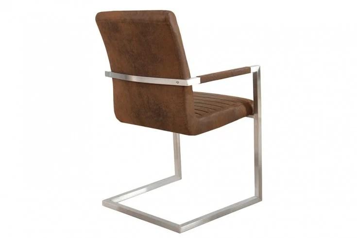 Freischwinger Stuhl IMPERIAL Vintage braun mit ...