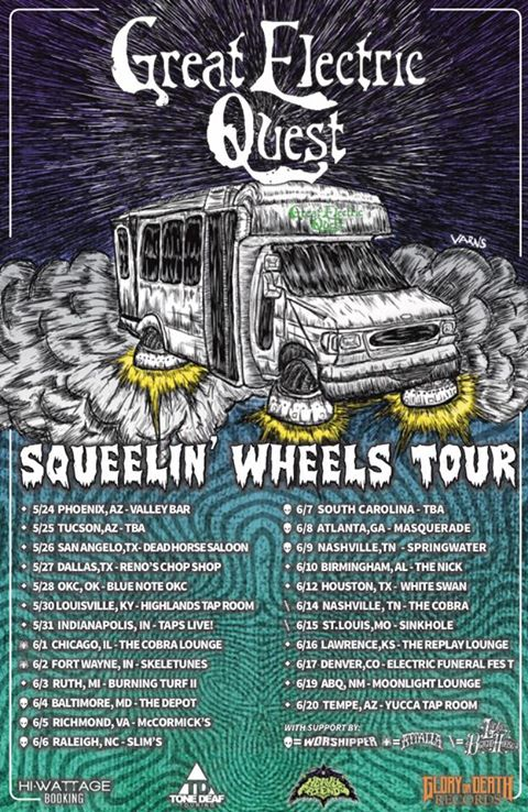 Great Electric Quest Squeelin' Wheels Tour Poster by Stephen Varns