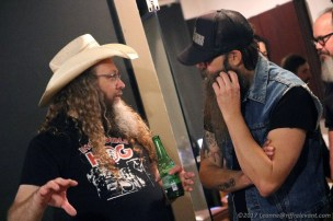Kent Stump of Wo Fat chats with Tim Narducci of The Watchers - Photo by Leanne Ridgeway