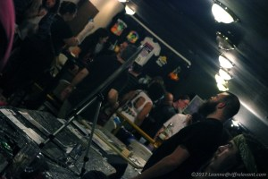 Chris of Lo-Pan at the merch table - Photo by Leanne Ridgeway