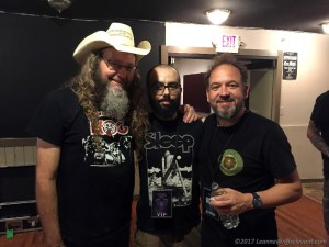 Kent Stump and Michael Walter of Wo Fat, with 'Joe King' (center) - Photo by Leanne Ridgeway