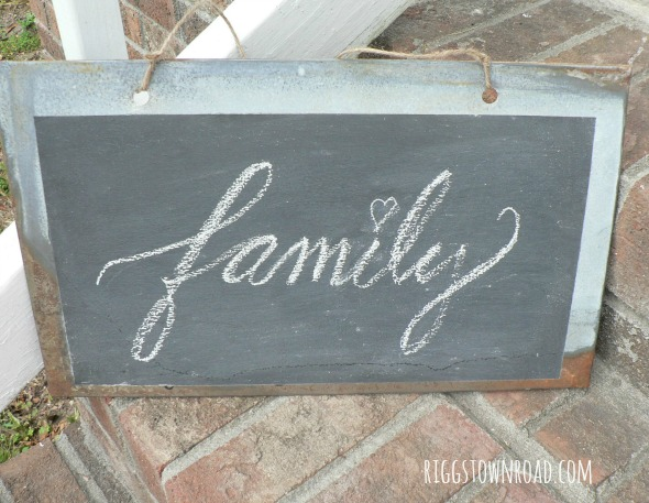 metal chalkboard sign by Riggstown Road