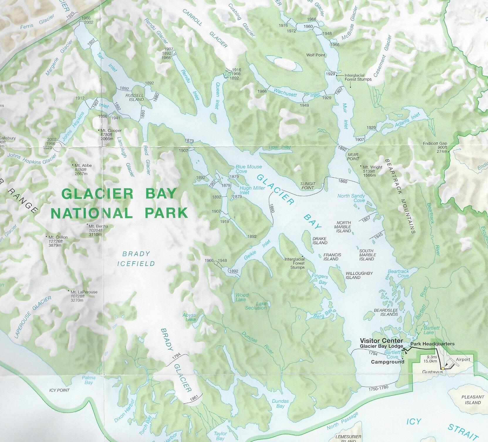 Map of Glacier Bay National Park