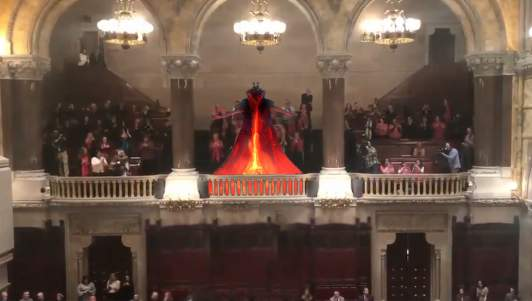 Demon Lord Clearly Visible In New York Senate Chamber Applauding Legalization Of Abortion Until Moment Of Birth