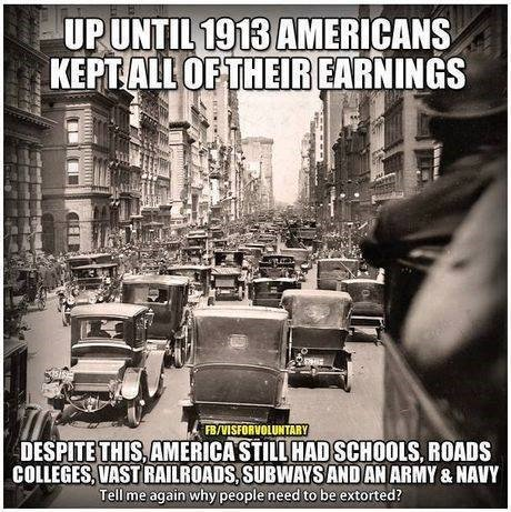 Up Until 1913, Americans kept 100% of their earnings