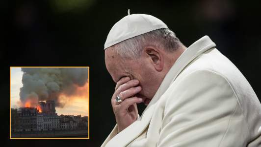 Pope Francis Mourns Excess Carbon Emissions Given Off By Notre Dame Fire