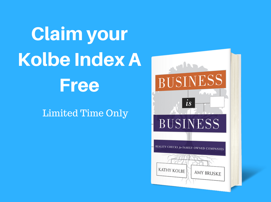 Get the Business is Business Book and Claim the Kolbe Index free