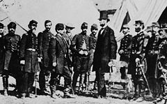 President Abraham Lincoln visiting the Union Army troops during American Civil War
