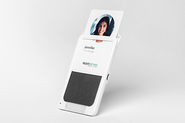 insert card into social distance badgeholder