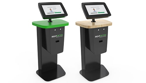 visitor management solution with two visitor kiosks for workplace lobby