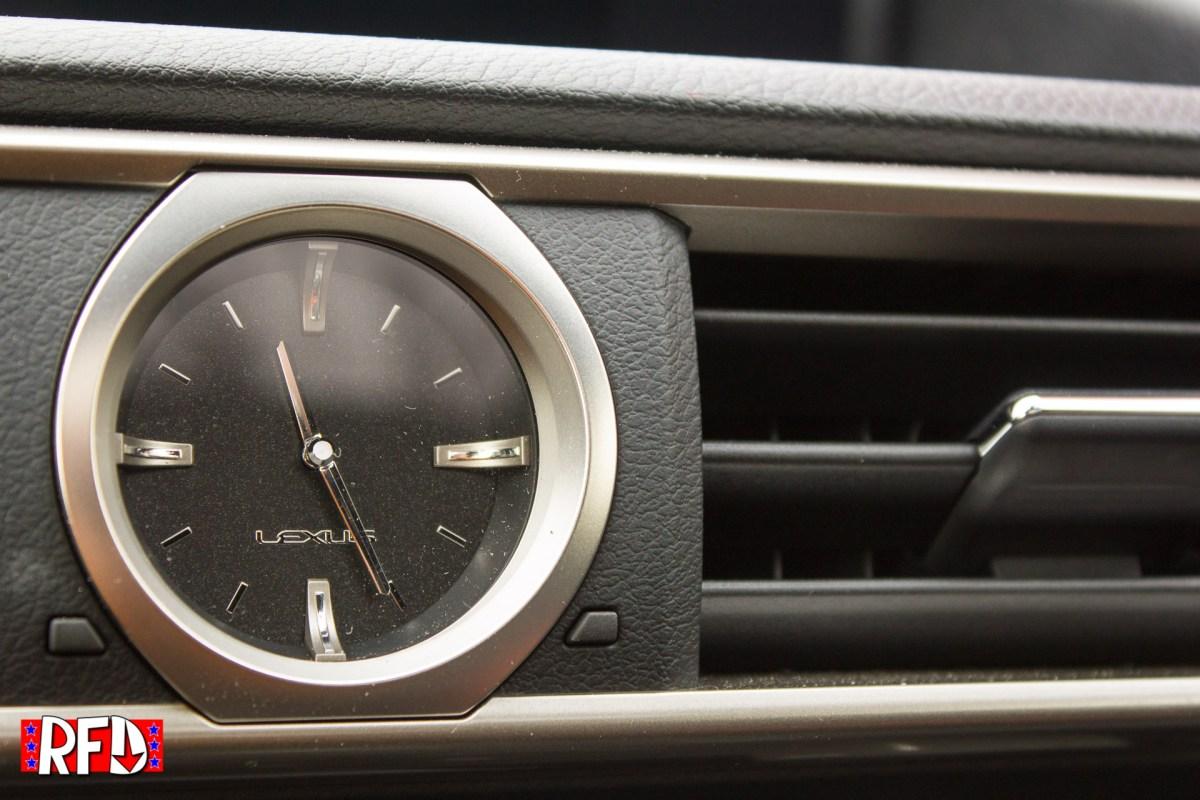 2016 Lexus RC F analog clock on the dash, close up.