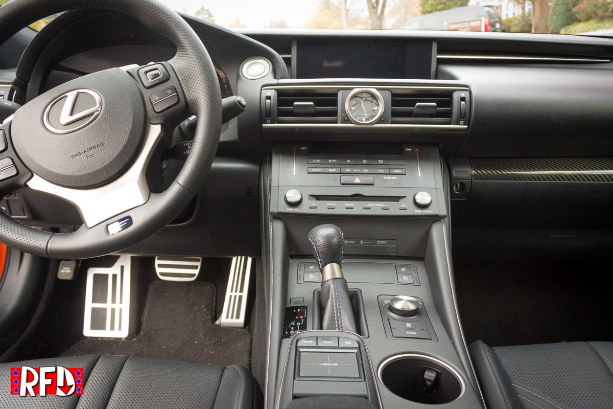 2016 Lexus RCF center console.