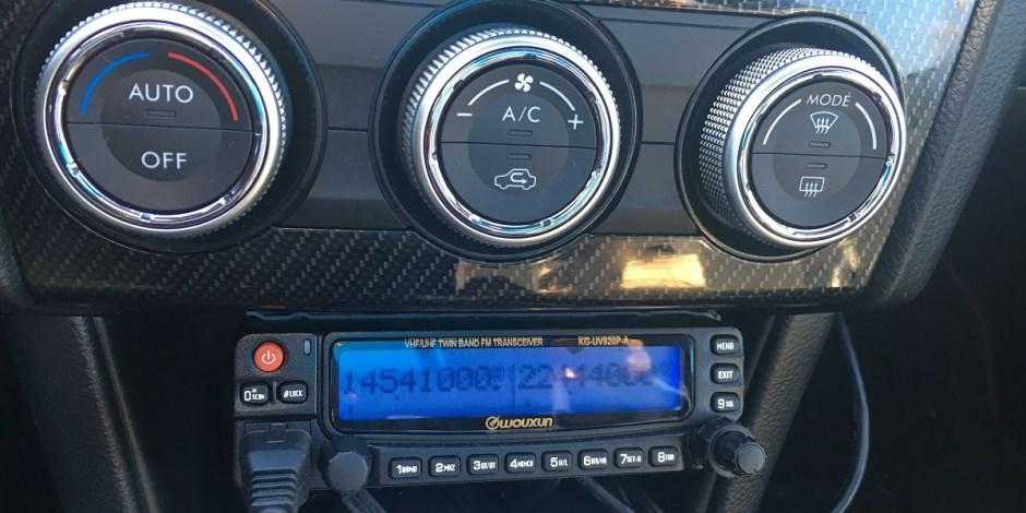 Wouxun ham radio in Justin's Subaru WRX