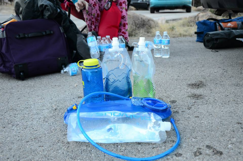 The water needed for a two-day trip.