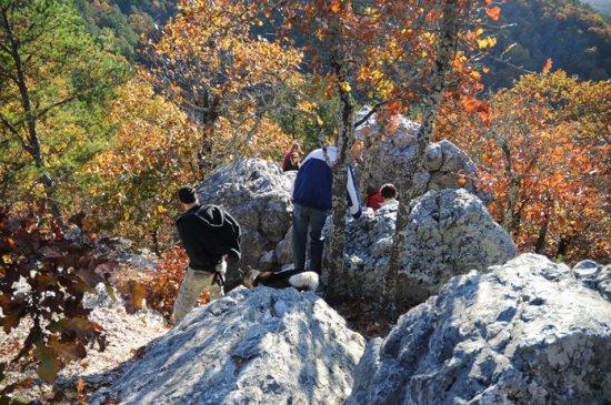 Climbing on the rocks at Balanced Rock.