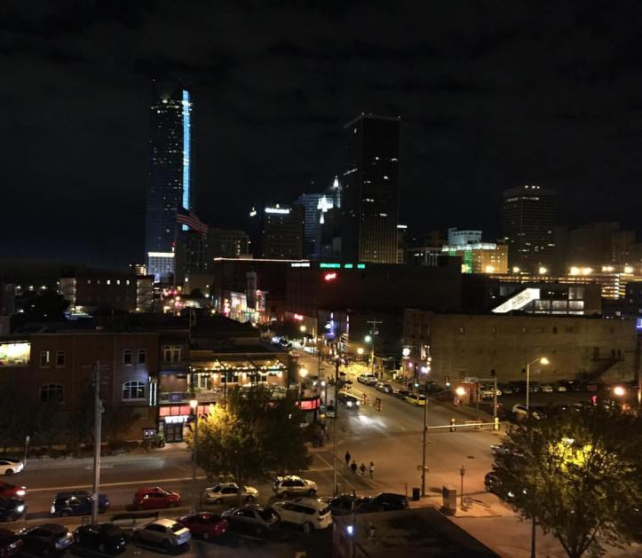 The Oklahoma City skyline at night.