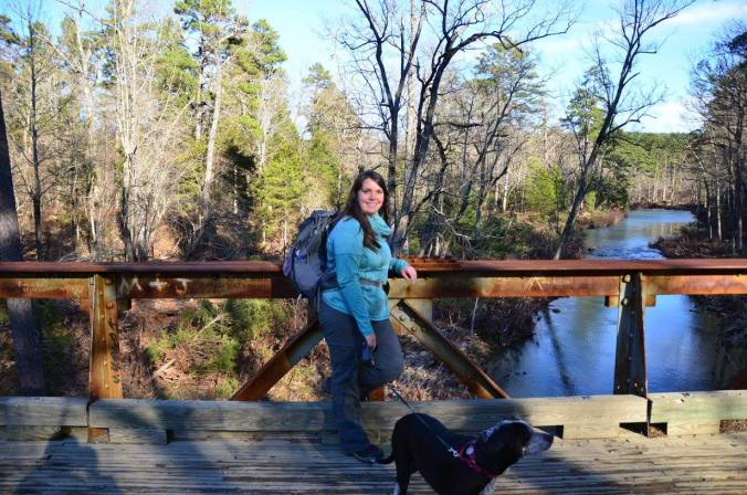 Posing on the bridge on County Road 6 at Big Brushy Campground.