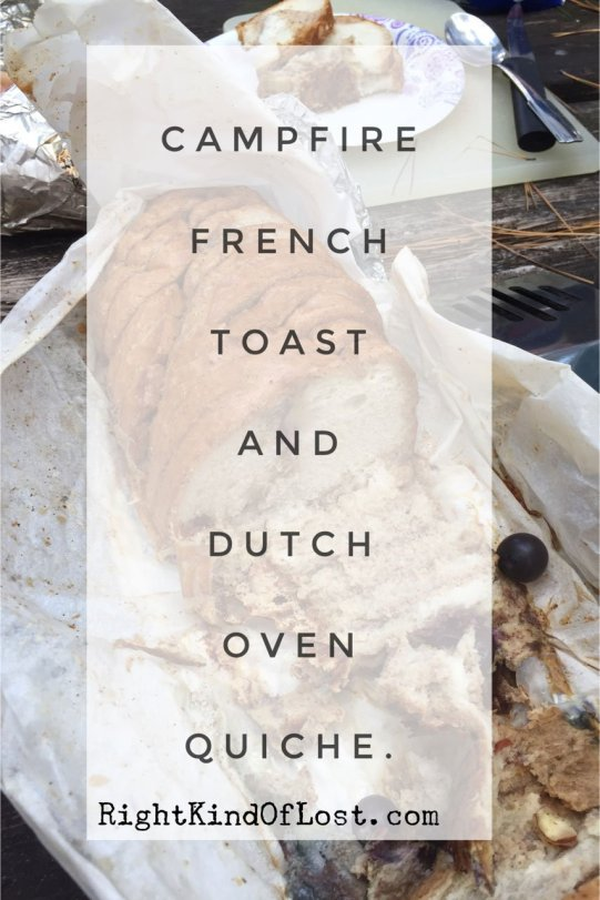 Lagena's Dutch oven quiche and French toast campfire recipes. Camp cookie gourmet.